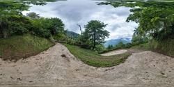360 hdri panorama on serpentine path in high in mountains among deciduous forest in equirectangular spherical seamless projection, VR AR content