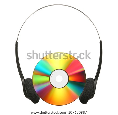 Headphones and CD isolated on a white background.