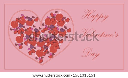 heart. A lot of hearts in the heart. on a pink background. Valentine's Day. Valentine's Day. card