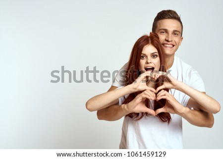 heart, logo, white T-shirt, young couple                               #1061459129