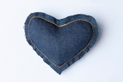 heart of jeans fabric on white background