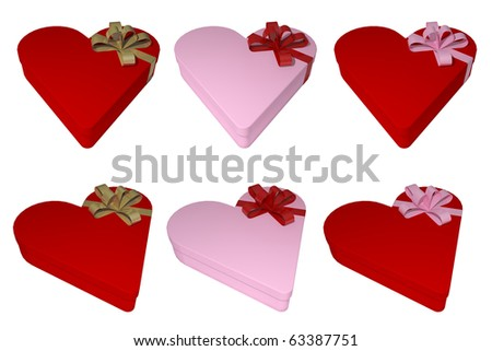 6 heart shaped gift boxes with ribbon