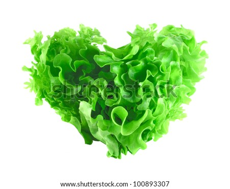 Heart shaped lettuce salad isolated on white background