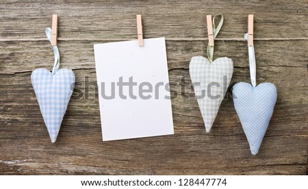 hearts and note with clothe spins/hearts/love