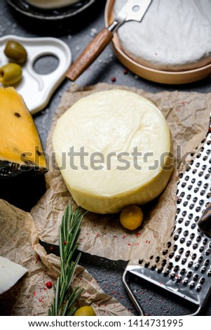 Сheese delicatessen. Different sorts of cheese. Large assortment international cheese. Top view.