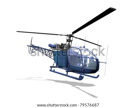 helicopter 3D, isolated white background