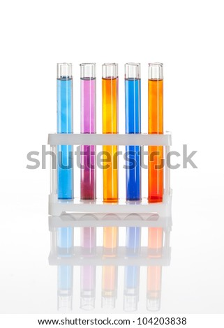 ?hemical flask with a blue laboratory test tubes inside, isolated Stock photo ©