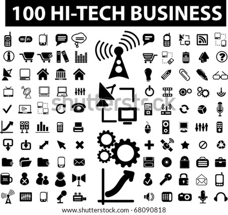 100 hi-tech business signs. raster version