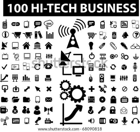 100 hi-tech business signs. raster version