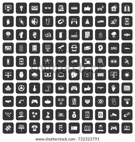 100 hi-tech icons set in black color isolated  illustration