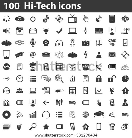 100 Hi-Tech icons set, simple black images on white background