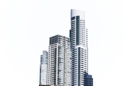 High buildings and  skyscrapers  in the city center isolated on the white