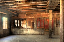 High Dynamic Range Image of a Burned Out Cell Block of an Abandoned Penitentiary