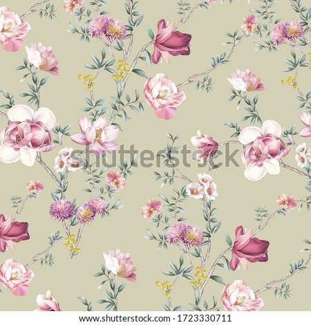 high-quality set of various watercolor flowers