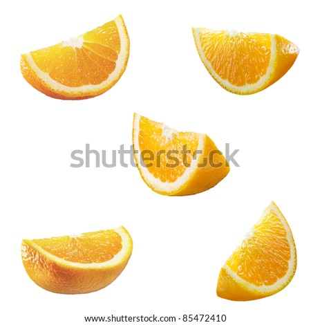 5 high resolution orange parts isolated on white