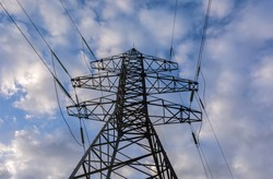 high-voltage  power lines. electricity distribution . high voltage electric transmission tower.