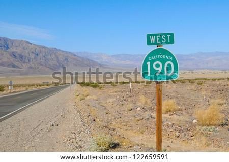 190 Highway, California desert in Death Valley. Nevada, US