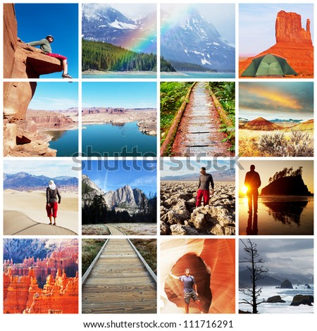 hiking collage