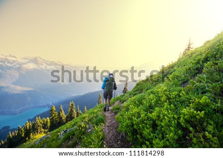 hiking in summer mountains
