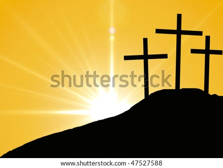 Hill with three crosses.Symbol of Golgotha, or Calvary, the hill on which Jesus was crucified