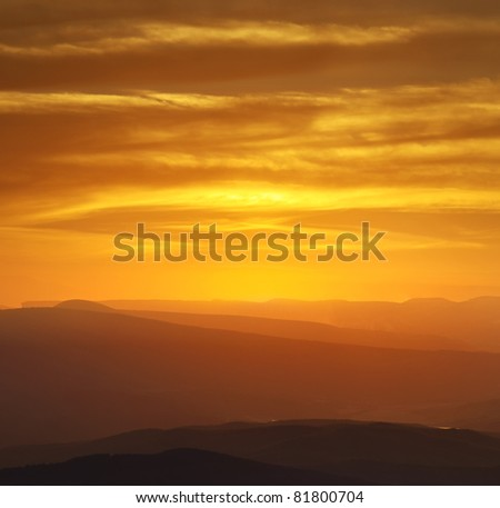 Hills and bright sky during sundown. Composition of the nature