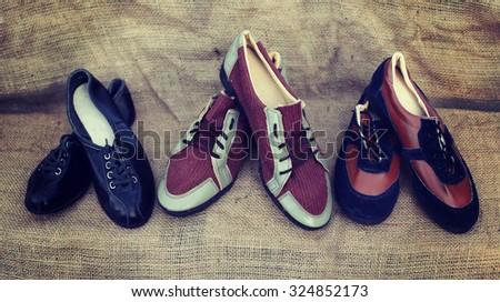 hipster old elegant shoes with retro vintage filter effect.  #324852173
