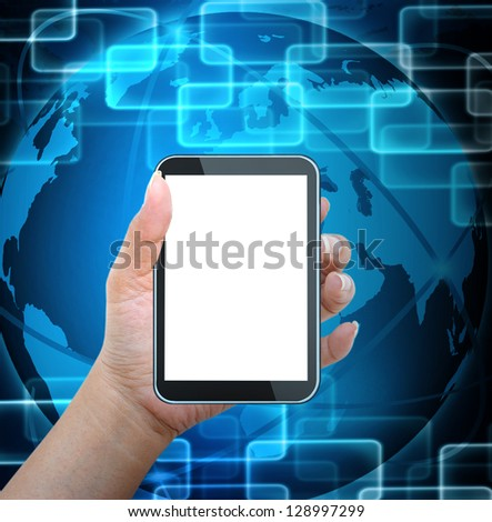 holding mobile smart phone with world technology background