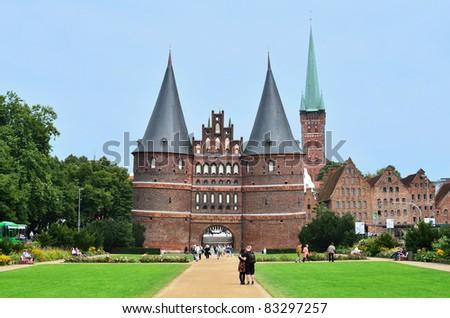 """""""Holsten"""" gate  of """"Hansestadt Lübeck"""" schleswig Holstein, Germany"""