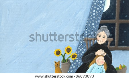 Home scene - Grandmother and granddaughter at home