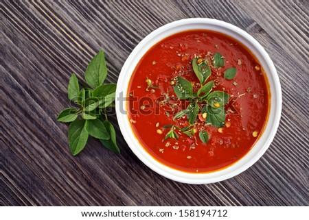 Homemade, fresh  tomato sauce in the white bowl