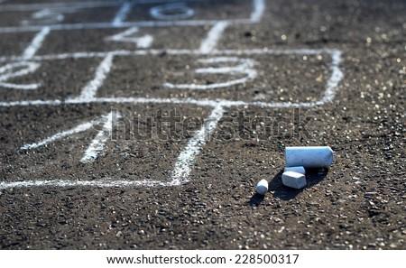 Hopscotch - popular street game/Hopscotch