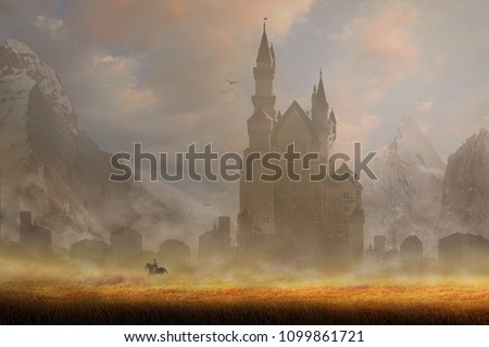 horse rider of knight in front of old castle with summer background fantasy  #1099861721