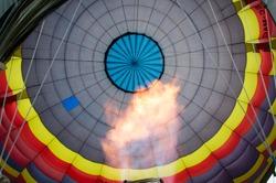 hot air balloon seen from inside