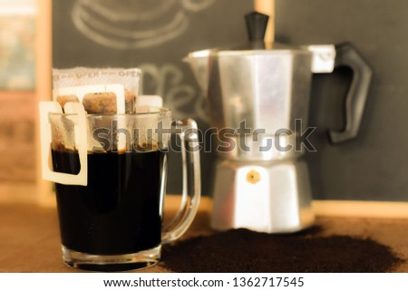 Hot black coffee, refreshing and refreshing. #1362717545