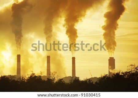 hot steam from big chimney - stock photo