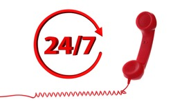 24 hours a day, 7 days a week hotline service. Red handset on white background, banner design