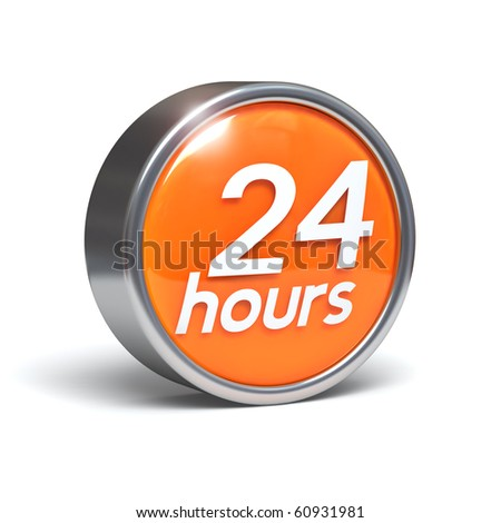 24 hours - 3D button with clipping path