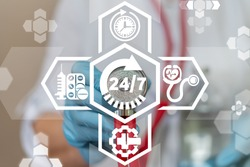 24 hours 7 days pharmacy or medical care patient service. 247 healthcare concept.