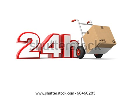 24 hours delivery service. Computer generated image.