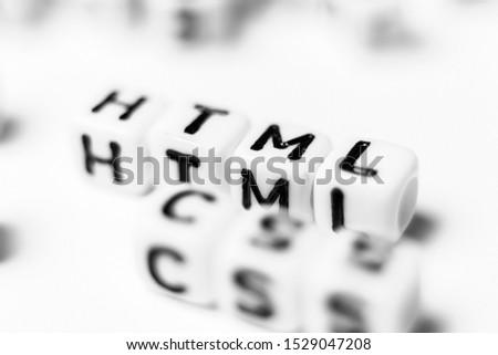 HTML & CSS - bright dice font concept Foto stock ©