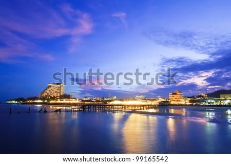 Hua Hin city in twilight, Thailand