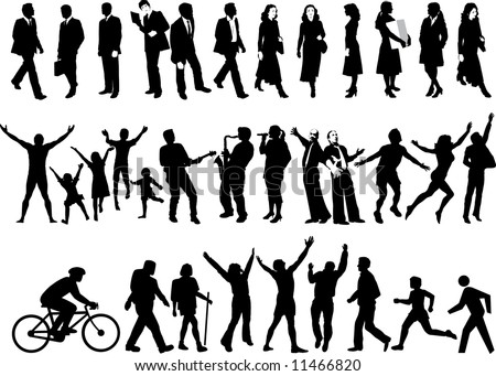 34 human figure silhouettes in different actions. Also available in vector format
