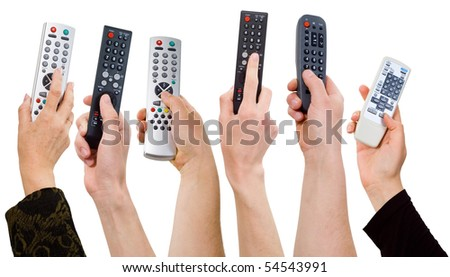 human hands from a remote control on a white background.control panel.