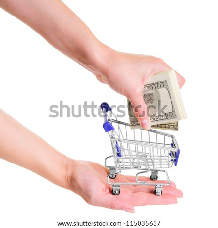 human hands  put dollars into blue shopping cart.  isolated on white background. close-up