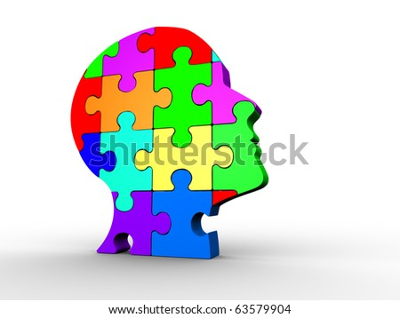 Human head made of puzzle - this is a 3d render illustration - stock photo