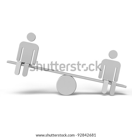 2 Humans Who Are Riding Seesaw Front View