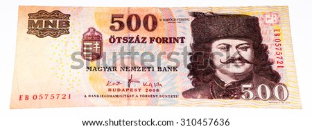500 Hungarian forints bank note. Hungarian forint is the national currency  of Hungary b04b9b19c7