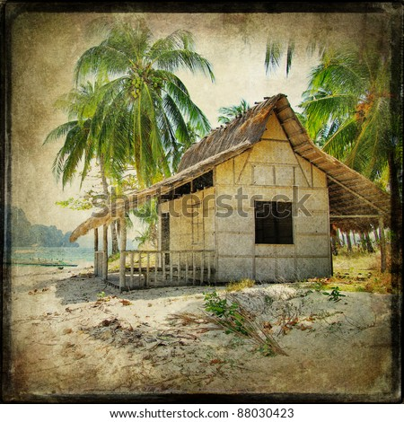 hut on the tropical beach - retro styled picture