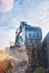 hydrolic excavator close up on a construction site