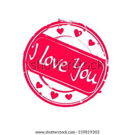 """I love you"" retro pink round rubber stamp - stock photo"